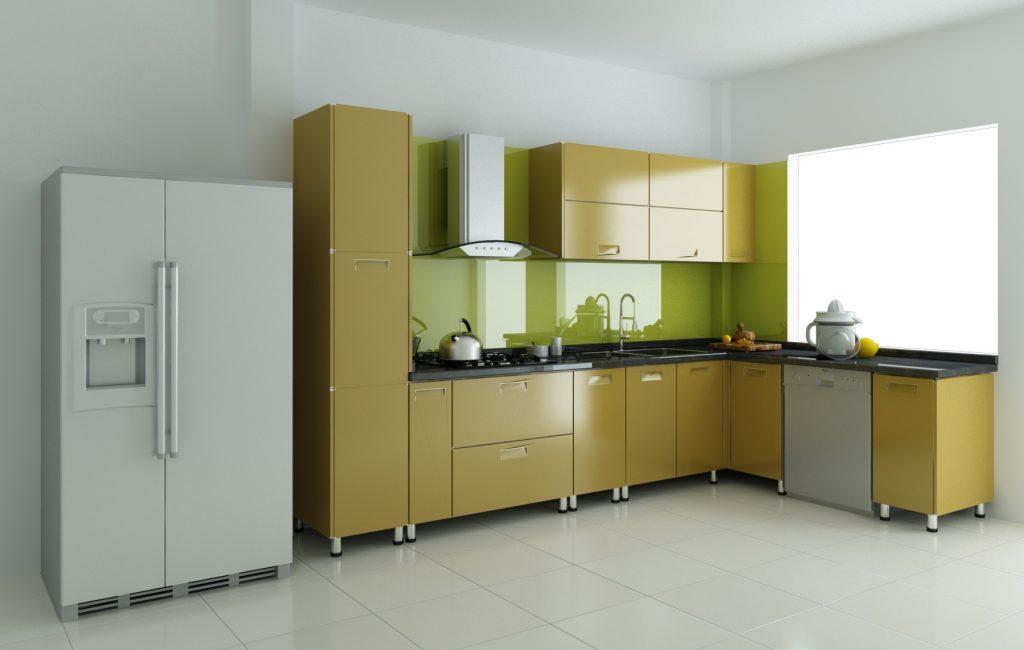 Tủ bếp và bàn ăn xếp theo chiều ngang để tiết kiệm không gian