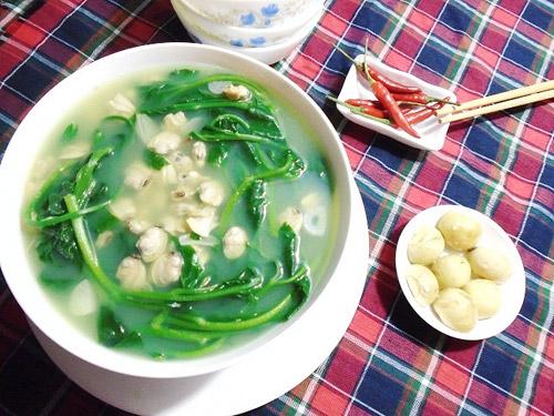 canh ngao nấu rau muống