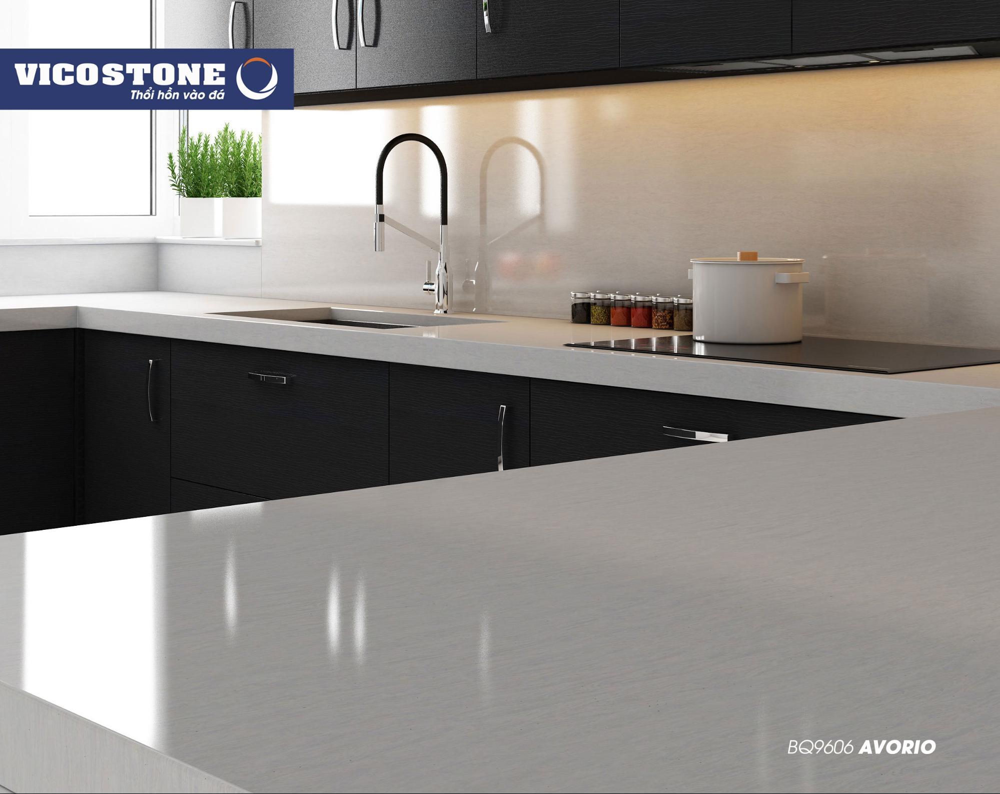 Mẫu đá bàn bếp VICOSTONE Avorio BQ9606