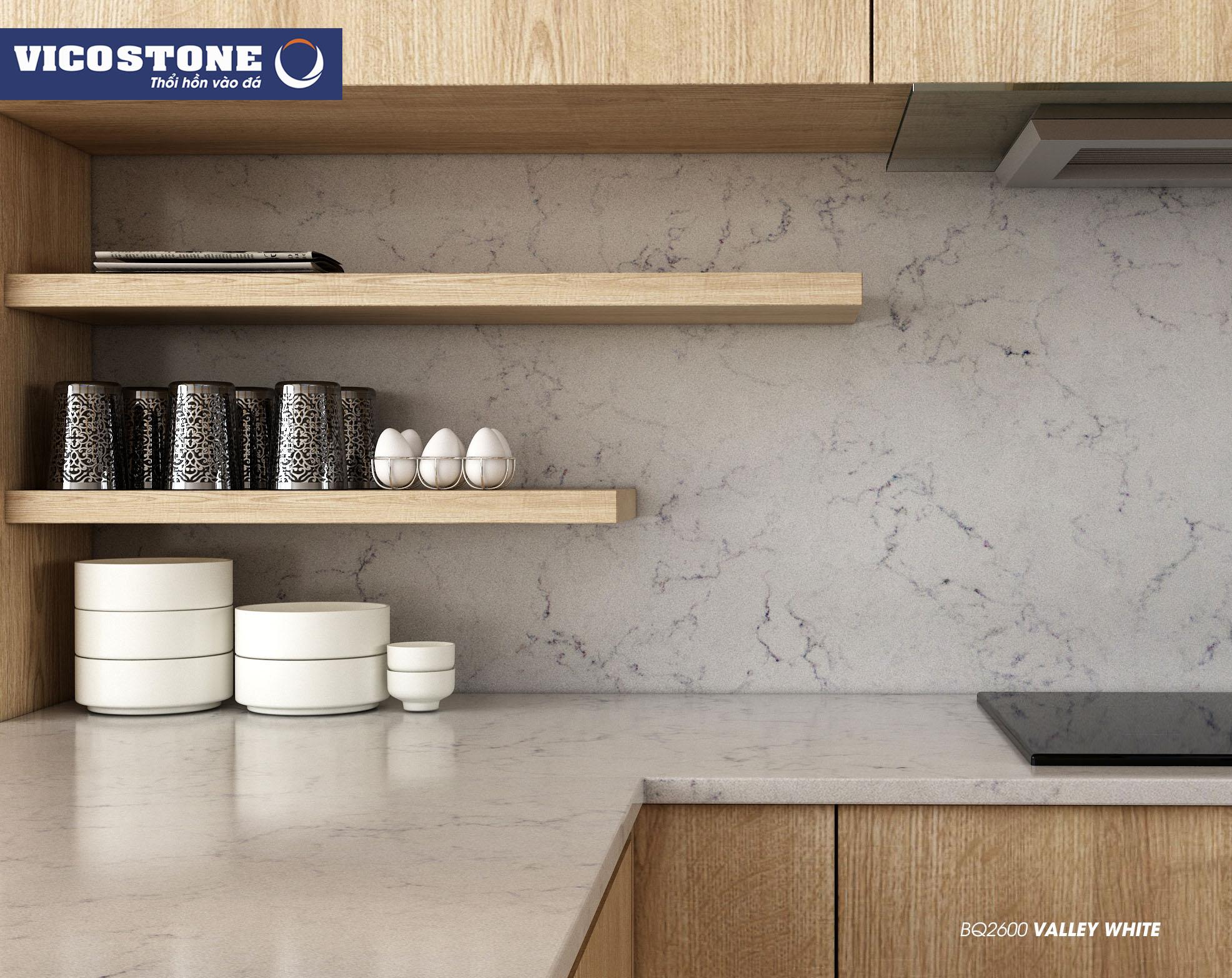 Mẫu đá bàn bếp VICOSTONE Valley White BQ2600