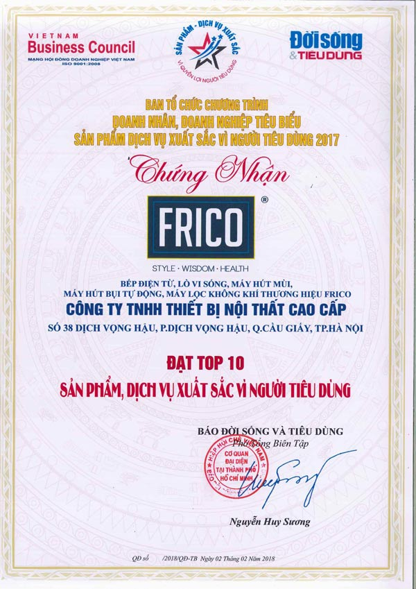 Giải thưởng Frico đã nhận được